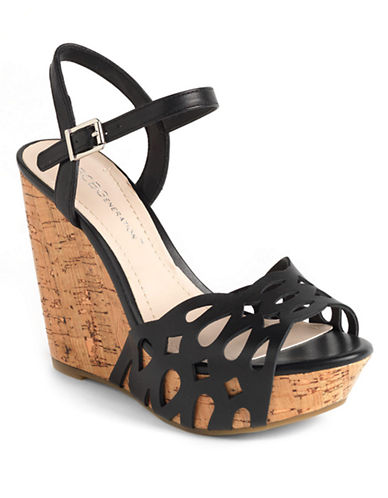 BCBGENERATION Paulina Leather Platform Wedge Sandals