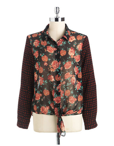 COLLECTIVE CONCEPTSMixed-Print Tie-Front Blouse