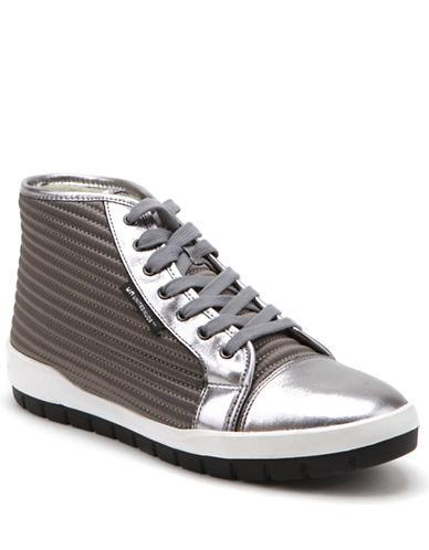 UNITED NUDEHi Top Waterproof Satin and Leather Sneakers