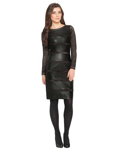 DEBBIE SHUCHATFaux Leather and Mesh Dress