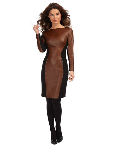 DEBBIE SHUCHATEmbossed Faux Leather and Ponte Knit Dress