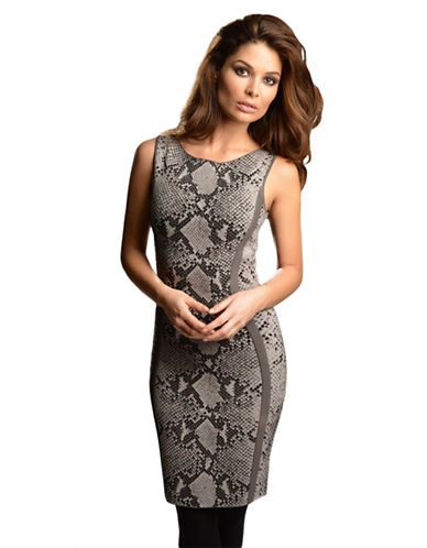 DEBBIE SHUCHATBanded Snakeskin Print Sheath Dress