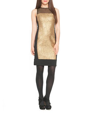 DEBBIE SHUCHATMetallic Tweed Colorblock Sheath Dress