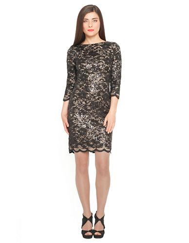 DEBBIE SHUCHATSequined Lace Sheath Dress