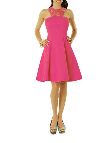 Debbie Shuchat Linen-Blend Lace-Yoke A-Line Dress