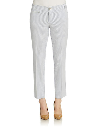 LORD & TAYLOR Kelly Seersucker Cropped Ankle Pants