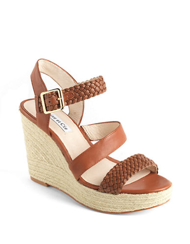 LOUISE ET CIE Lo-Tabby Leather Platform Wedge Sandals
