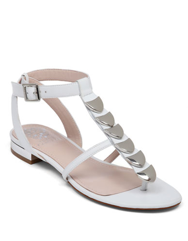 VINCE CAMUTO Himila Embellished Synthetic Leather Thong Sandals
