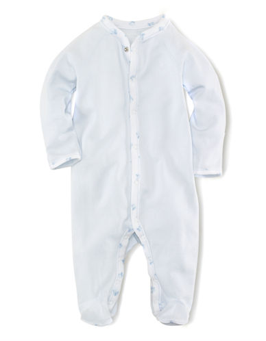 RALPH LAUREN CHILDRENSWEARBaby Boys Baby Boys Pearl Blue Coverall with Block Print Trim