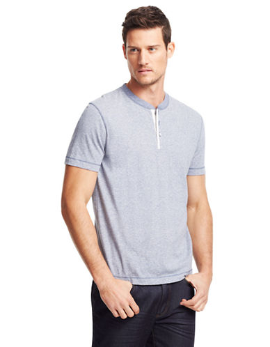 KENNETH COLE NEW YORK Heathered Stripe Knit T-Shirt
