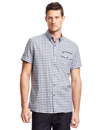KENNETH COLE NEW YORKGraphic Check Zip Pocket Sport Shirt