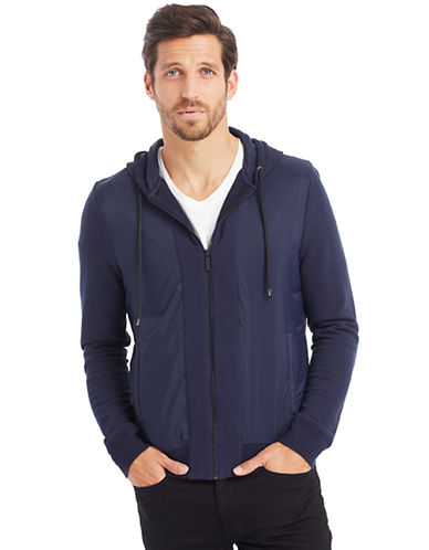 KENNETH COLE NEW YORK Nylon Front Full Zip Hoodie
