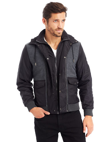 KENNETH COLE NEW YORKMixed Media Hooded Jacket