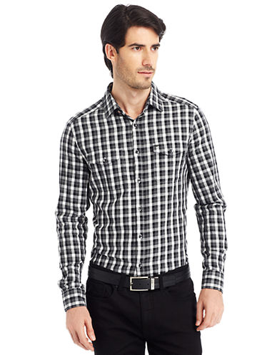 KENNETH COLE NEW YORKHeathered Graphic Check Sport Shirt