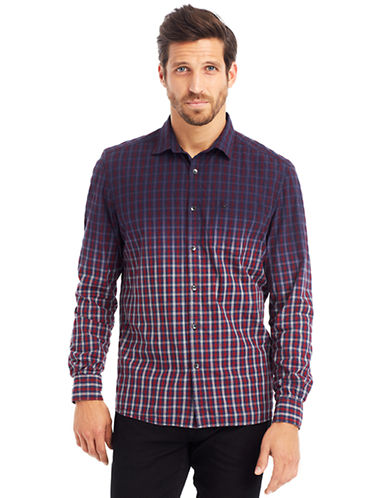 KENNETH COLE NEW YORKDobby Check Dip Dye Shirt
