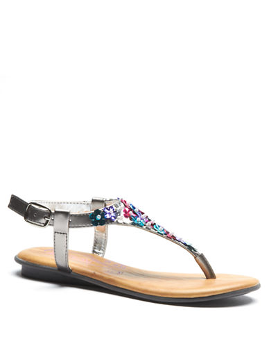 KENNETH COLE REACTION Keep Blue Sea Sequin Floral Sandals