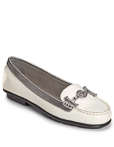 AEROSOLES Nuwlywed Leather Loafers with Metallic Trim