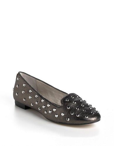 MICHAEL MICHAEL KORS Ailee Studded Metallic Leather Loafers