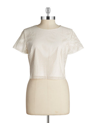 Lucy Paris Perforated Faux-Leather Top