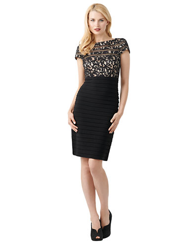 ADRIANNA PAPELLBanded Lace Sheath Dress