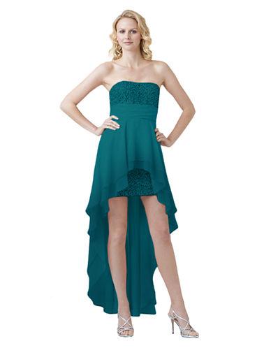 Shop Hailey Logan online and buy Hailey Logan Multi Sequin HiLo Hemline Gown dress online