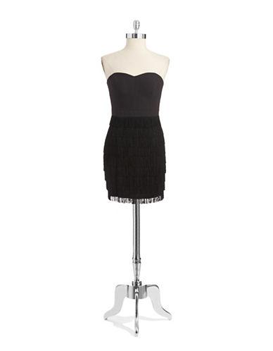 Shop Aidan Mattox online and buy Aidan Mattox Strapless Fringed Dress dress online
