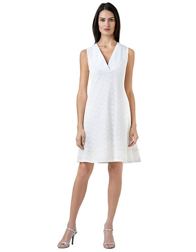 ADRIANNA PAPELLPeek A Boo Geo Eyelet Fit and Flare Dress