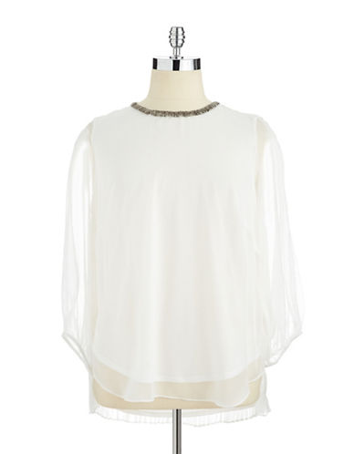 ADRIANNA PAPELLPlus Cold Shoulder Blouse with Beaded Collar