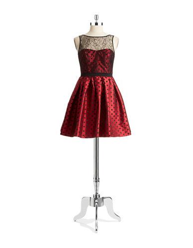 AIDAN MATTOXPolka Dot Fit and Flare Dress
