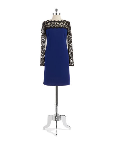 ADRIANNA PAPELLLace Accented Shift Dress