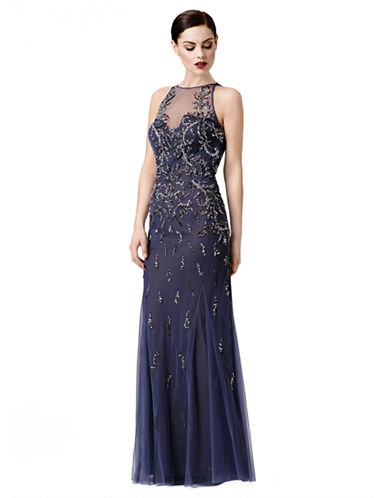 Beaded Illusion Neck Gown $346.49 AT vintagedancer.com