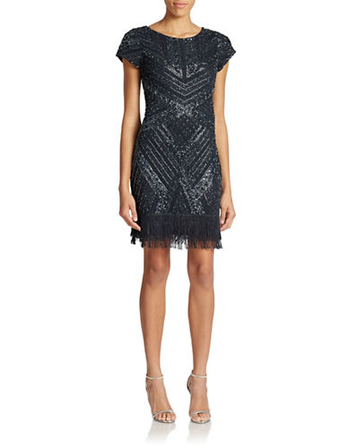 Aidan Mattox Fringed and Patterned Mesh Party Dress