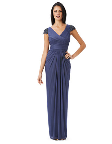 Shop Adrianna Papell online and buy Adrianna Papell Draped Deco Sleeve Gown dress online