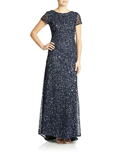ADRIANNA PAPELLScoop Back Sequined Gown