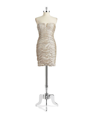 Shop Hailey Logan online and buy Hailey Logan Metallic Ruched Dress dress online