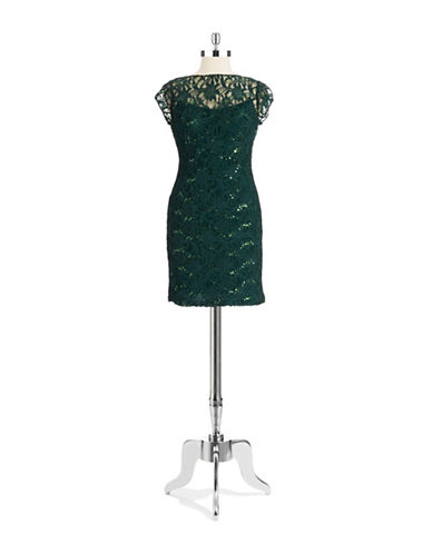 HAILEY LOGANLace and Sequin Empire Cocktail Dress