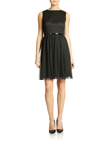 ADRIANNA PAPELL Petite Dotted Net Tulle Fit and Flare Dress