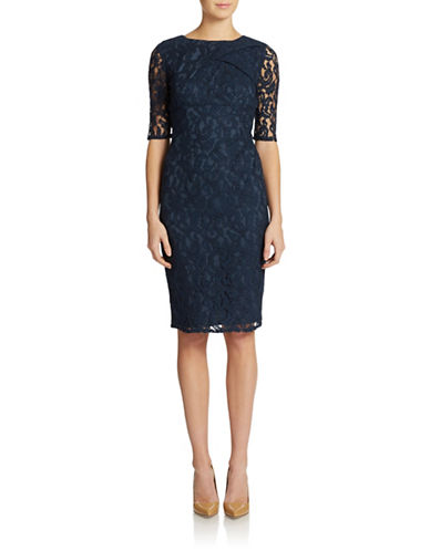 ADRIANNA PAPELL Lace Tuck Sheath Dress