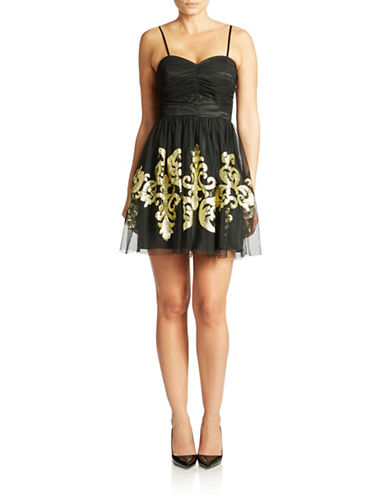 Shop Hailey Logan online and buy Hailey Logan Gold Embroidered Cocktail Dress dress online