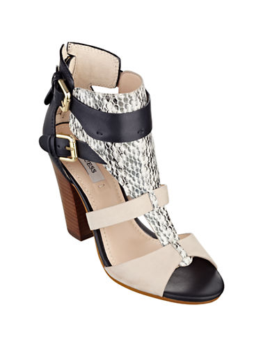 GUESSBoden Calf Leather and Snakeskin Heels