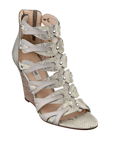 GUESSJily Leather Sandal Wedges