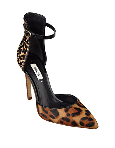 GUESS Abaihy Printed Hair Calf Ankle-Strap Pumps