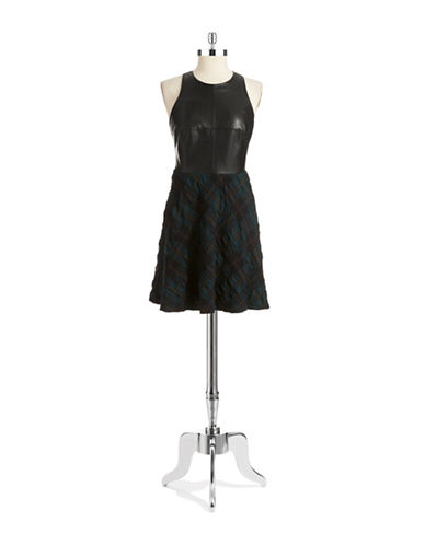 BAILEY 44Faux Leather Accented Fit and Flare Dress