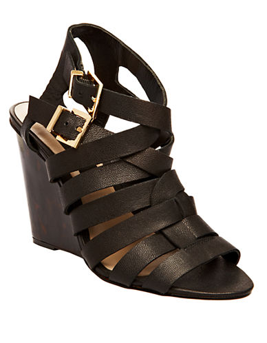 STEVEN BY STEVE MADDEN Midori Leather Wedge Sandals