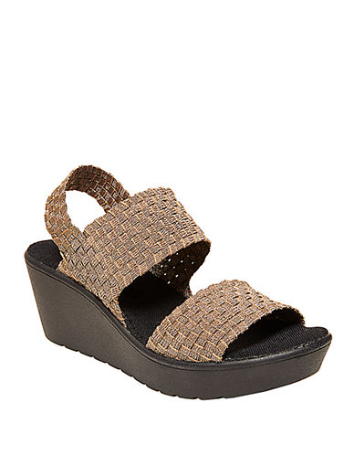 STEVEN BY STEVE MADDENBrookln Stretch Fabric Wedge Sandals