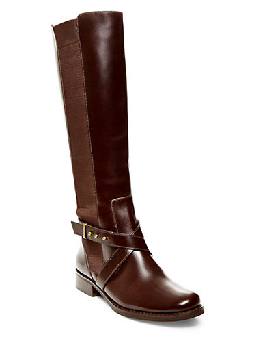 Buy Sydnee Knee-High Leather Boots - Wide Calf by Steven By Steve Madden online