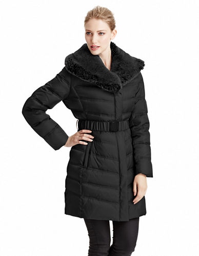 Kenneth Cole New York Belted Down Coat with Faux Fur Trim