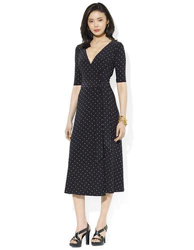 Shop Lauren Ralph Lauren online and buy Lauren Ralph Lauren Polka Dot Jersey Wrap Dress dress online