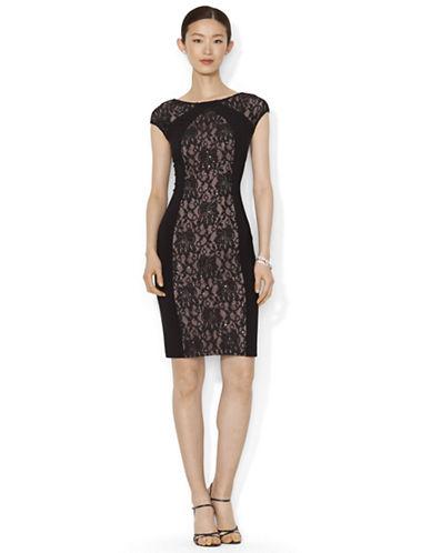 LAUREN RALPH LAURENSequined Lace Contrast Dress
