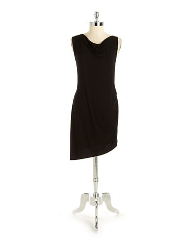 Cowlneck Asymmetrical Dress